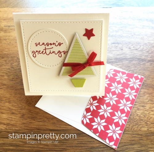 Stampin Up Stitched Shapes Framelits Dies 3 x 3 Holiday Card Ideas Lime - Mary Fish StampinUp