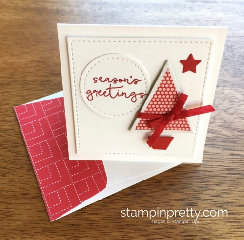 Stampin Up Stitched Shapes Framelits Dies 3 x 3 Holiday Card Ideas Red - Mary Fish StampinUp