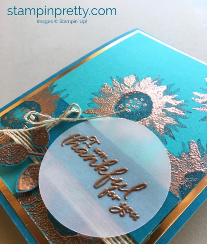 How to create a simple thank you card using Stampin' Up! Painted Harvest Stamp Set & copper embossing
