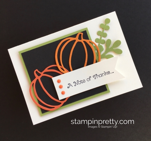 Learn how to create a simple autumn thank you card with Stampin Up Patterned Pumpkin Thinlits Die By Mary Fish