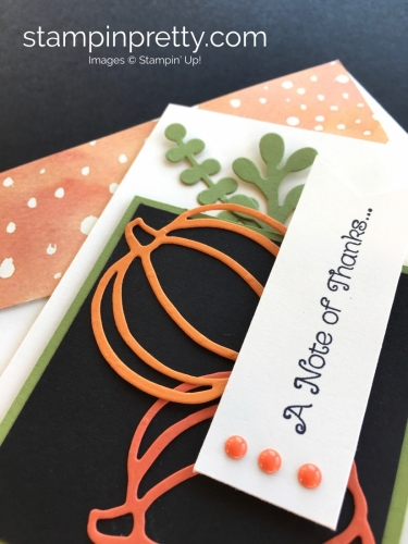 Learn how to create a simple autumn thank you card with Stampin Up Patterned Pumpkin Thinlits Dies - By Mary Fish