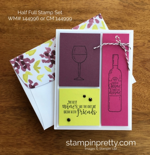 Stampin Up Half Full Wine Birthday Card Idea - Mary Fish StampinUp