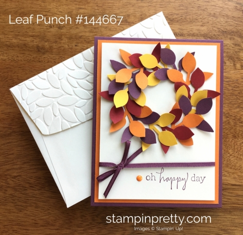 Stampin Up Leaf Punch Autumn Fall Birthday Card Idea - Mary Fish StampinUp