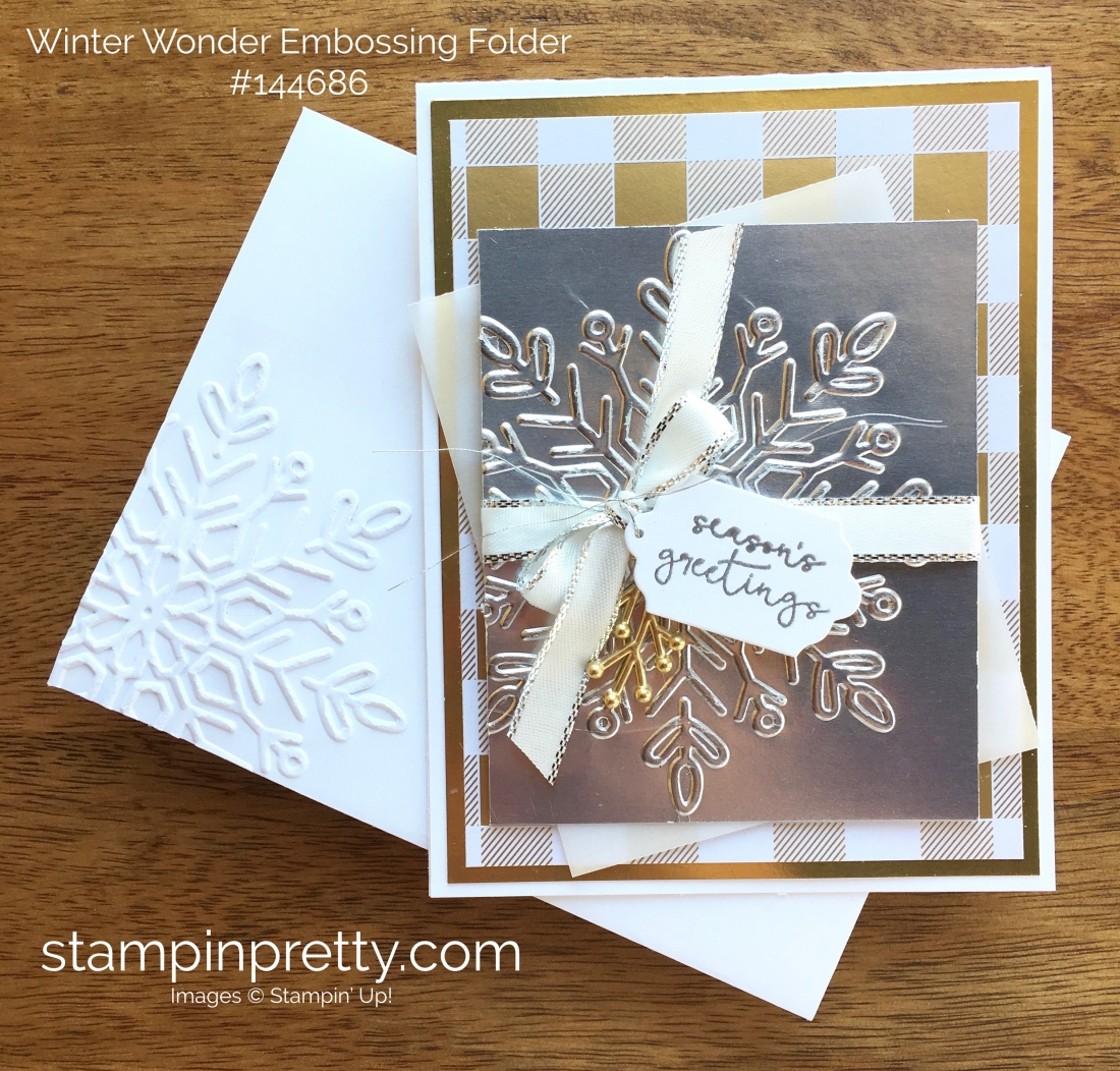Winter wonder dazzling card idea stampin pretty stampin up year of cheer winter wonder embossing folder christmas holiday card ideas mary fish m4hsunfo