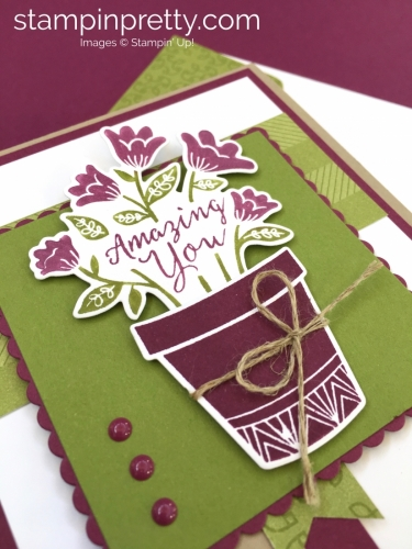 Create a simple birthday card using Stampin' Up! Grown with Love Rich Razzleberry - StampinUp Mary Fish