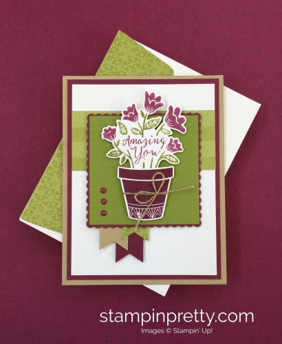Create a simple birthday card using Stampin' Up! Grown with Love - StampinUp Mary Fish card idea