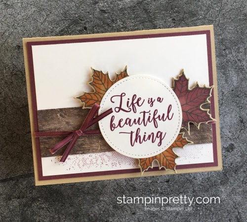 Create a simple card using Stampin' Up! Colorful Season & Seasonal Layers Thinlits Dies - Mary Fish StampinUp Idea