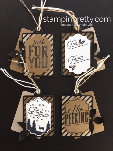 Create simple Christmas holiday gift tags using Stampin' Up! Merry Little Labels - Mary Fish StampinUp Ideas