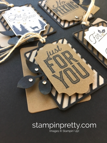 Create simple Christmas holiday gift tags using Stampin' Up! Merry Little Labels - Mary Fish StampinUp Rhinestones