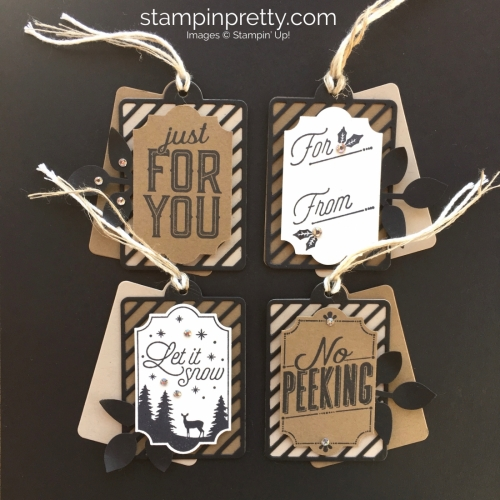 Create simple Christmas holiday gift tags using Stampin' Up! Merry Little Labels - Mary Fish StampinUp Square
