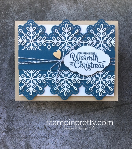 How to create a simple Christmas Card using Stampin' Up! Snowflake Sentiments & Swirly Snowflakes Thinlits - Mary Fish StampinUp Idea