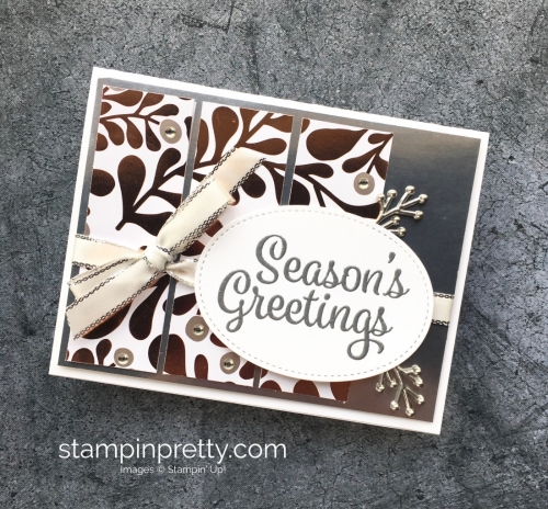 Learn how to create a simple Christmas holiday card using Year of Cheer - Mary Fish StampinUp idea