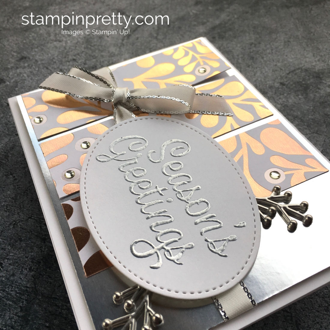 Learn how to create a simple Christmas holiday card using Year of Cheer - Mary Fish StampinUp ideas