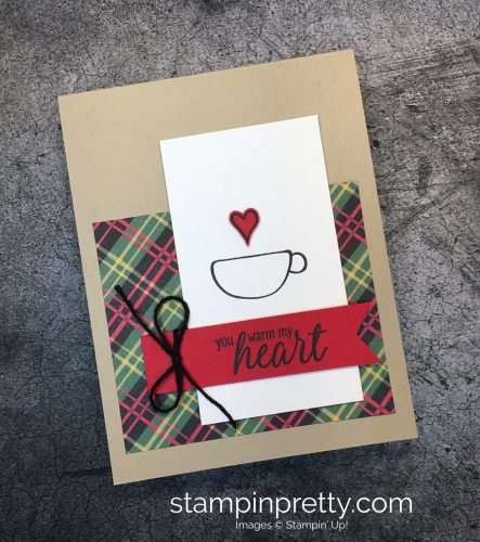 Learn how to create a simple holiday card using Stampin' up! Hug in a Mug Stamp Set - Mary Fish StampinUp