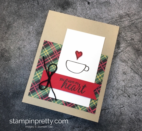 Learn how to create a simple holiday card using Stampin' up! Hug in a Mug Stamp Set - Mary Fish StampinUp Ideas