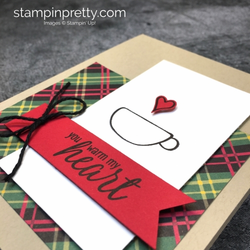 Learn how to create a simple holiday card using Stampin' up! Hug in a Mug Stamp Set - Mary Fish StampinUp idea