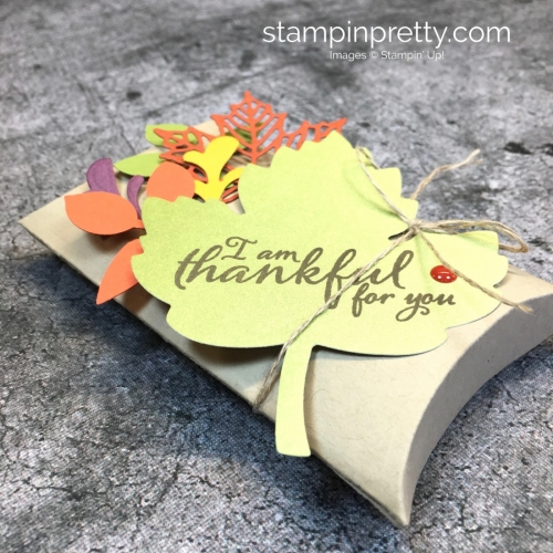 Learn how to create a simple pillow box treat holder using Stampin' Up! Trim Your Stocking Thinlits Dies - Mary Fish StampinUp