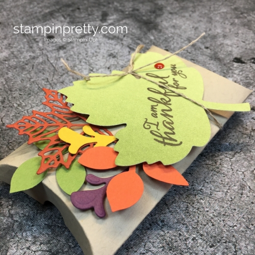 Learn how to create a simple pillow box treat holder using Stampin' Up! Trim Your Stocking Thinlits Dies - Mary Fish StampinUp Idea