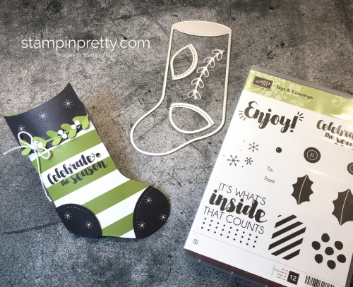 Learn how to create a simple pillow box using Stampin' Up! Trim Your Stocking Thinlits Dies - Mary Fish StampinUp Gift Card Ideas