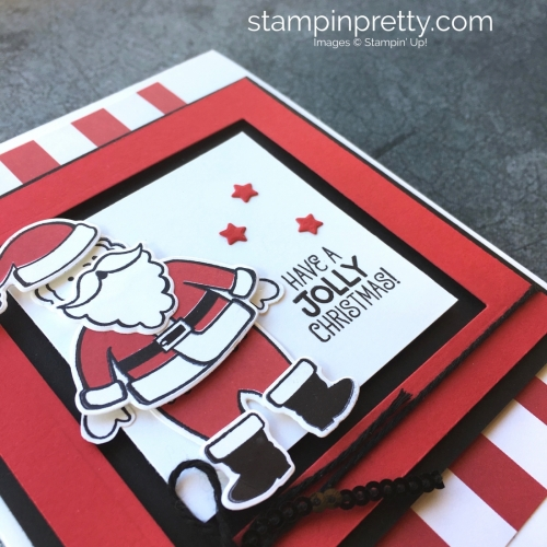 Learn how to create this Christmas card with Stampin' Up! Santa's Suit & Santa Builder Framelits Dies - Mary Fish StampinUp Ideas
