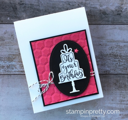 Create a simple birthday card using Stampin' Up! Celebration Thinlits Dies & Celebration Time Stamp Set - By Mary Fish StampinUp Ideas