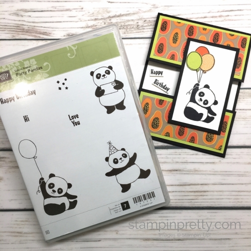 Create a simple birthday card with Stampin Up Party Pandas - Mary Fish StampinUp