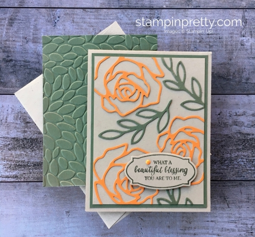 Create a simple thank you card for a friend using Stampin' Up! Rose Wonder stamp Set & Rose Garden Thinlits Dies - By Mary Fish StampinUp