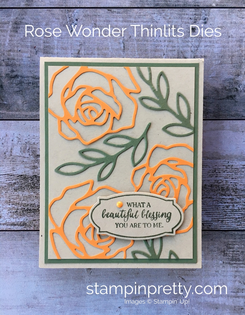 Create a simple thank you card for a friend using Stampin' Up! Rose Wonder stamp Set & Rose Garden Thinlits Dies - By Mary Fish StampinUp Idea