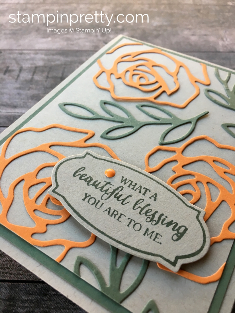 Create a simple thank you card for a friend using Stampin' Up! Rose Wonder stamp Set & Rose Garden Thinlits Dies - By Mary Fish StampinUp Ideas