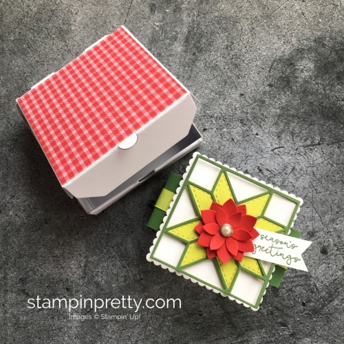 How to create a simple holiday and Christmas gift mini pizza box using Stampin' Up! Quilt Builder Framelits Die - Mary Fish StampinUp