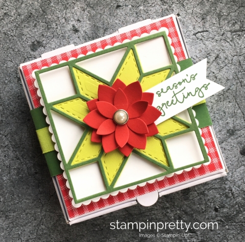 How to create a simple holiday and Christmas gift mini pizza box using Stampin' Up! Quilt Builder Framelits Dies - Mary Fish StampinUp