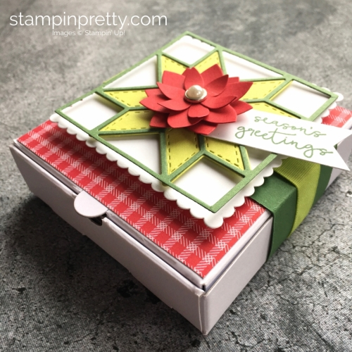 How to create a simple holiday and Christmas gift mini pizza box using Stampin' Up! Quilt Builder Framelits Dies - Mary Fish StampinUp ideas