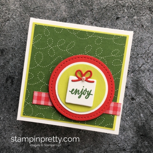 Learn how to create a simple 3 x 3 holiday card using Stampin' Up! Hug a Mug - Mary Fish StampinUp! Idea