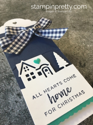 Learn how to create simple holiday tags using Stampin' Up! Hearts Come Home & Hometown Greetings - Mary Fish StampinUp Christmas gift ideas