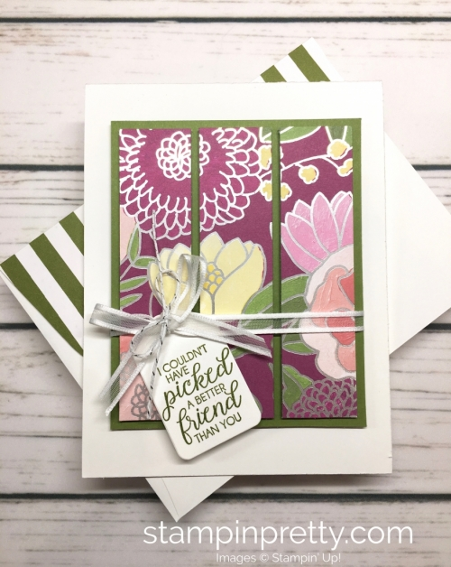 Learn how to create this simple friendship card using Stampin' Up! Sweet Soiree Designer Series Paper & Beautiful Bouquet Stamp Set - Mary Fish StampinUp card ideas