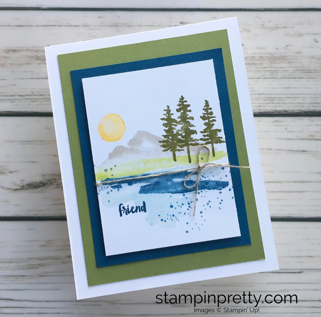 Learn how to create a simple friend card using Stampin Up Waterfront - Mary Fish StampinUp Ideas