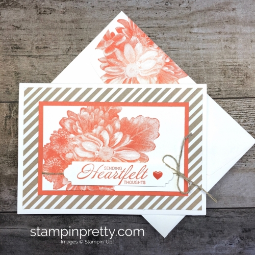Learn how to create a simple sympathy card using Stampin Up Heartfelt Blooms - Mary Fish StampinUp Idea
