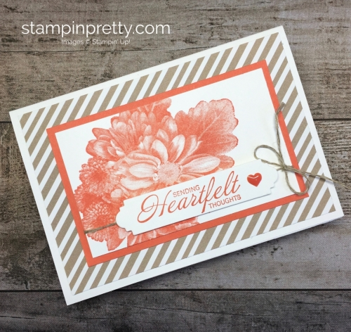 Learn how to create a simple sympathy card using Stampin Up Heartfelt Blooms - Mary Fish StampinUp Ideas