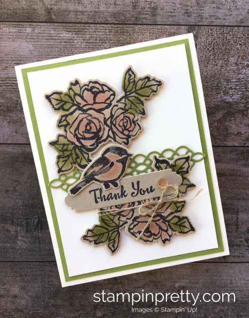 Learn how to create a simple thank you card using Stampin Up Petal Passion Stamp Set - Mary Fish StampinUp Ideas