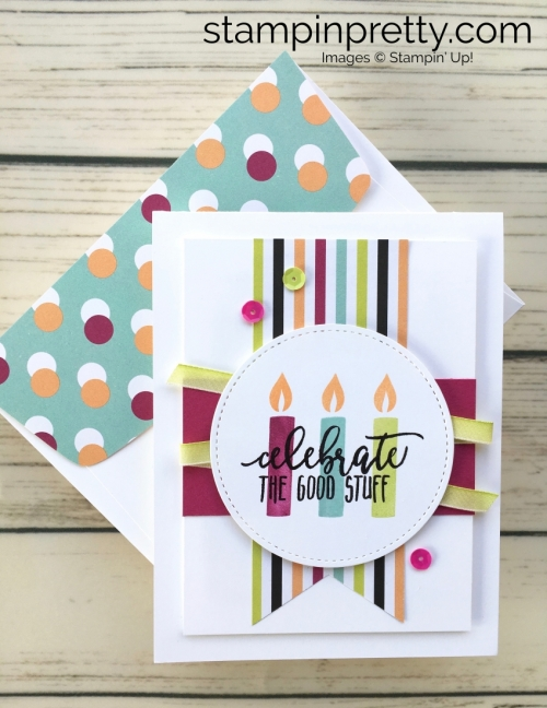 Learn how to create this simple birthday card using Stampin Up Picture Perfect Birthday stamp set - Created by Mary Fish StampinUp