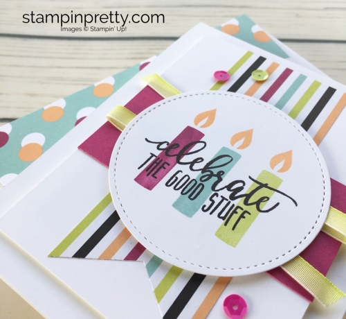 Learn how to create this simple birthday card using Stampin Up Picture Perfect Birthday stamp set - Created by Mary Fish StampinUp Idea