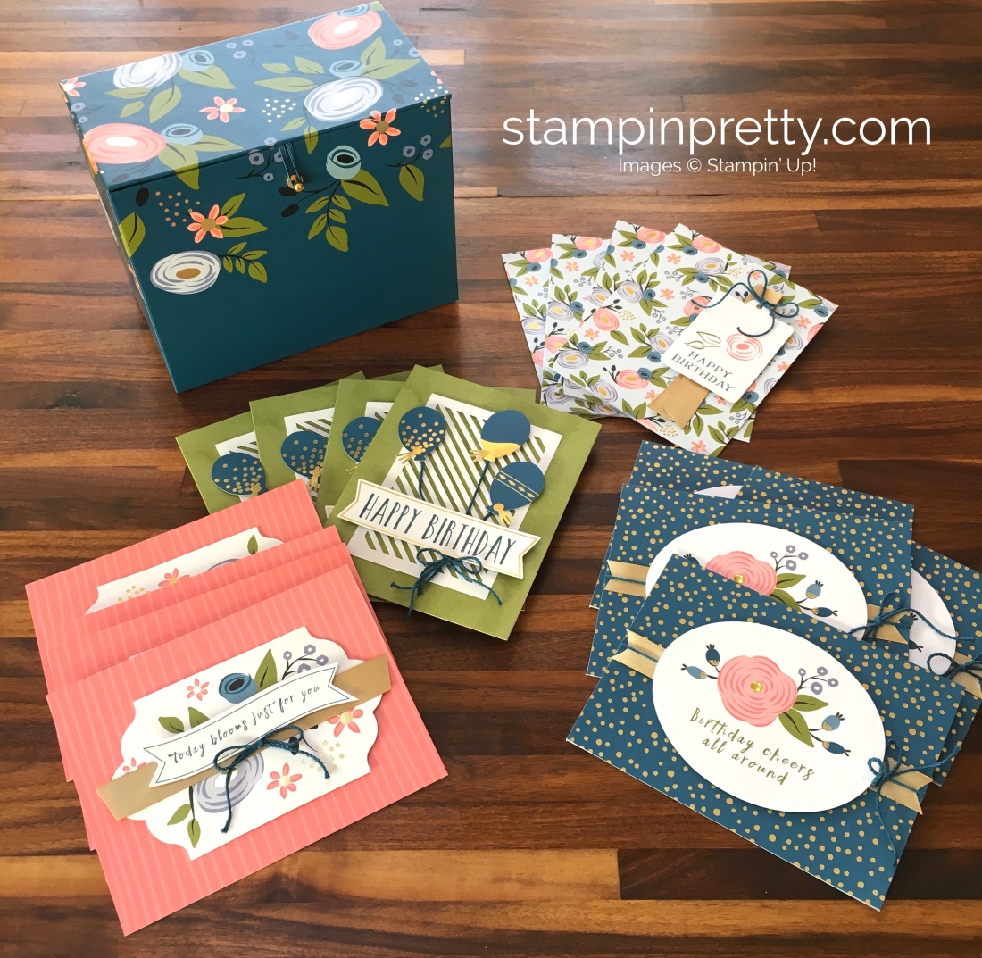 16 birthday cards in a flash stampin pretty i was sold the minute i saw the adorable box included in the perennial birthday project kit what a perfect way to organize birthday cards by month and bookmarktalkfo Gallery