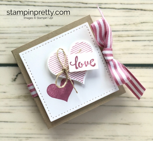 Learn how to create a ghirardelli treat holder valentine with Stampin Up Heart Happiness - Mary Fish