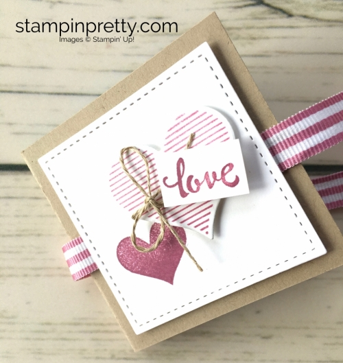 Learn how to create a ghirardelli treat holder valentine with Stampin Up Heart Happiness - Mary Fish Ribbon