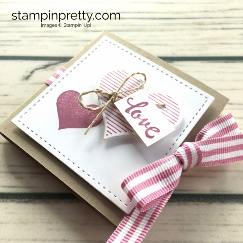 Learn how to create a ghirardelli treat holder valentine with Stampin Up Heart Happiness - Mary Fish ideas