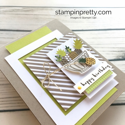 Learn how to create a simple birthday card using Stampin Up Tutti Frutti Fruit Basket - Mary Fish StampinUp idea