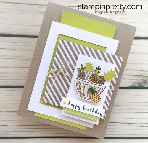 Learn how to create a simple birthday card using Stampin Up Tutti Frutti Fruit Basket - Mary Fish StampinUp ideas