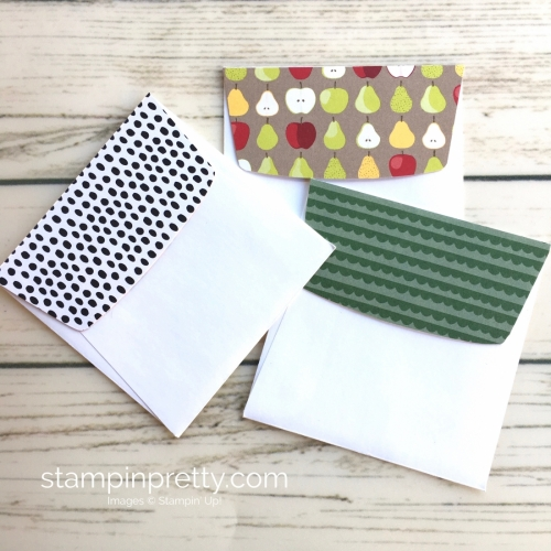 Learn how to create simple 3 x 3 cards using Stampin Up Tutti Frutti - Mary Fish StampinUp mini envelopes