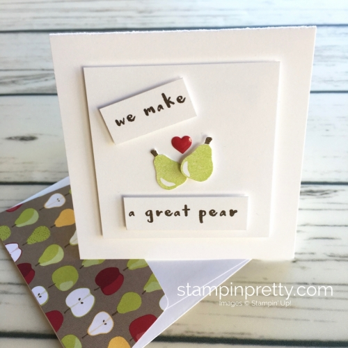 Learn how to create simple 3 x 3 cards using Stampin Up Tutti Frutti pear - Mary Fish StampinUp