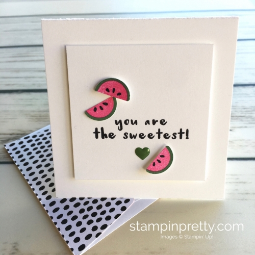 Learn how to create simple 3 x 3 cards using Stampin Up Tutti Frutti watermelon - Mary Fish StampinUp